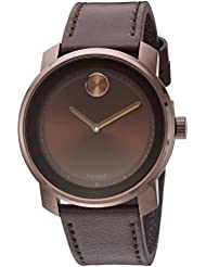 Movado Mens Swiss Quartz Stainless Steel and Leather Casual Watch, Color:Brown (Model: 3600377)