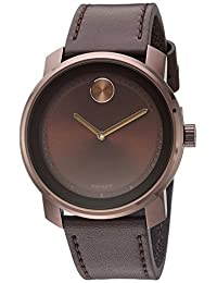 Movado Men's Swiss Quartz Stainless Steel and Leather Automatic Watch, Color:Brown (Model: 3600377)