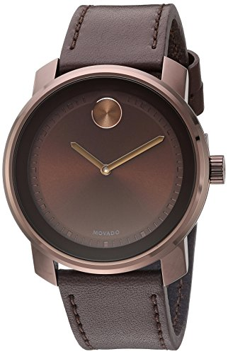 Movado Men's Stainless Steel Swiss-Quartz Watch with Leather Strap, Brown, 22 (Model: 3600377)