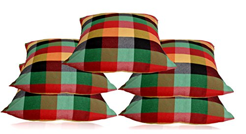Switchon 16 inch Polyester mix cotton Checks Cushion cover set of 5