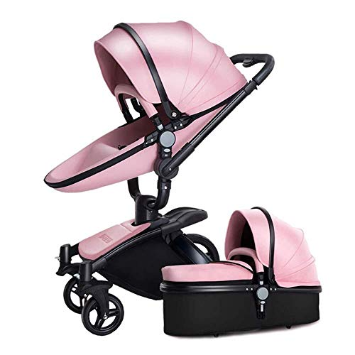 TZZ Luxury Baby Stroller High Landscape Foldable Pram Carriage with 5-Point Harness for Toddler Girls and Boys (Color : Pink 2 in 1)