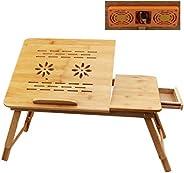 Mesa para laptop- YOCOO Escritorio para Computadora Portátil, con Cajón y Enfriador para Laptop, Altura e Incl