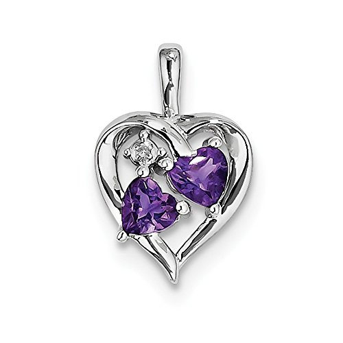 Sterling Silver Simulated Amethyst Diamond Pendant (14mm x 20mm)