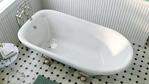 Luxury 60 inch Clawfoot Tub with Vintage Tub Design in White, includes Brushed Nickel Ball and Claw Feet and Drain, from The Laughlin Collection by Pelham & White (Image #4)