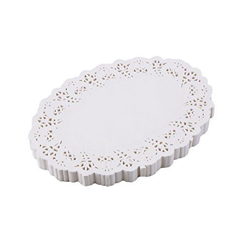 DECORA 6.5X9 Inch Oval White Lace Paper Doilies for Wedding Decoration Tea Party Decor Pack of 200]()