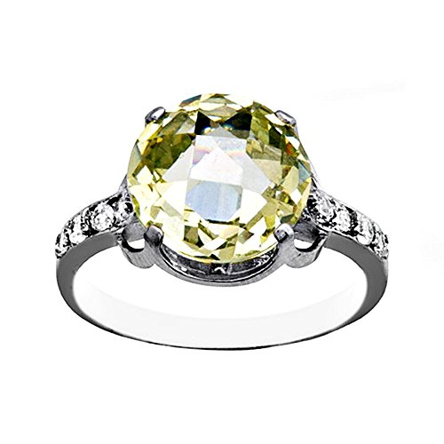 Bague 18k or blanc ronde Olivine 10mm. [AA7126]