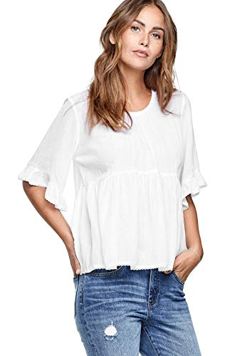 Ellos Women's Plus Size Ruffle Sleeve Babydoll Blouse - White, 24