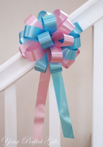 10 TEAL BLUE BABY PINK WEDDING 8'' PEW BOW BRIDAL SHOWER by your_perfect_gifts