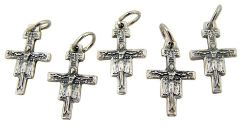 Lot of 5 San Damiano Cross Crucifix 3/4 Inch Silver Tone Medal Petite Charm