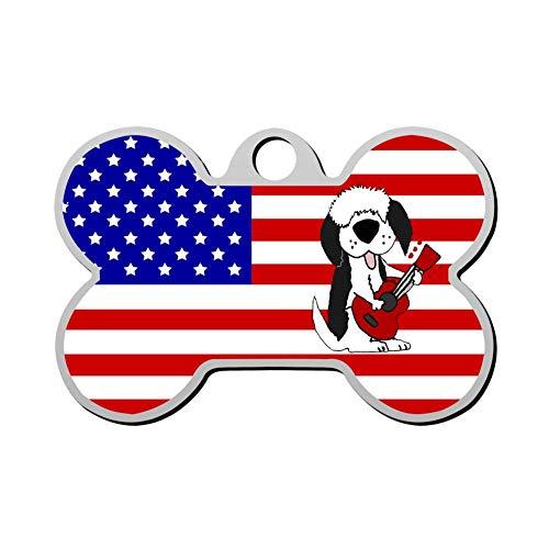 GPZHM American Flag English Sheepdog Pet ID Tags Personalized Custom Print Bone Shape Dog Tags & Cat Tags ()