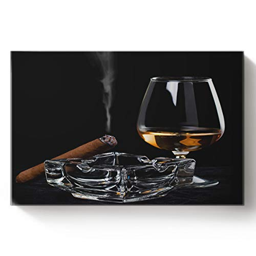 Canvas Print Wall Art Ashtray Cigar Wine Glass Unhealthy Habit Wall Decor Paintings Pictures for Living Room Modern Artwork Stretched and Framed Ready to Hang 12