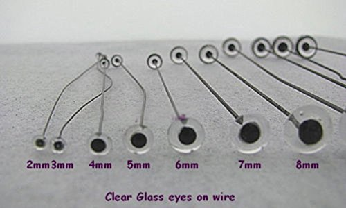 Craft Sewing Glass Eyes on Wire Teddy Bears, Dolls, 7 Pair Mixed Size (Clear)