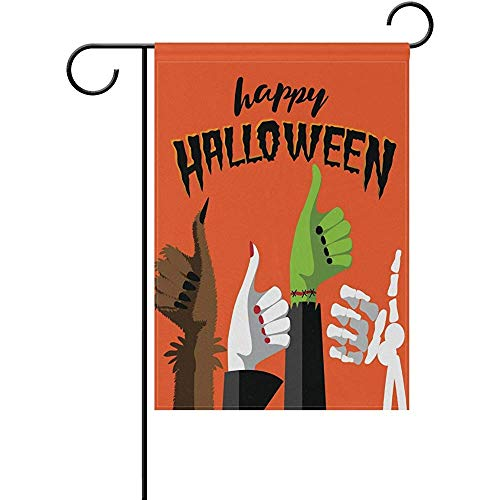 Yunnstrou Happy Halloween Werewolf Witch Zombie and Skeleton Hands Double Sided Garden Flag Best for Party Yard and Home Outdoor Decor - 12x18 inches]()