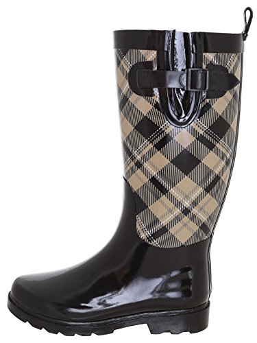 Capelli New York Ladies Shiny Plaid Printed Rain Boot Warm Sand 9 by Capelli New York (Image #1)