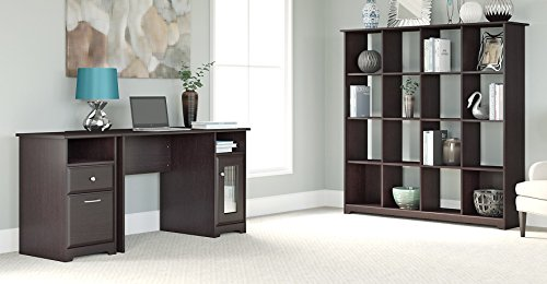 Bush Furniture Cabot Computer Desk with 16 Cube Bookcase and 2 Drawer File Cabinet