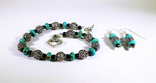 Turquoise and Bali Silver Bracelet with Earrings