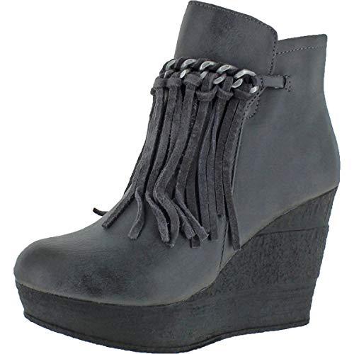 Sbicca Women's Zepp Faux Leather Fringe Wedge Booties Grey Size 5.5