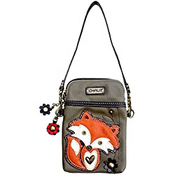 Chala Crossbody Cell Phone Purse - Women PU Leather Multicolor Handbag with Adjustable Strap - Fox - Olive