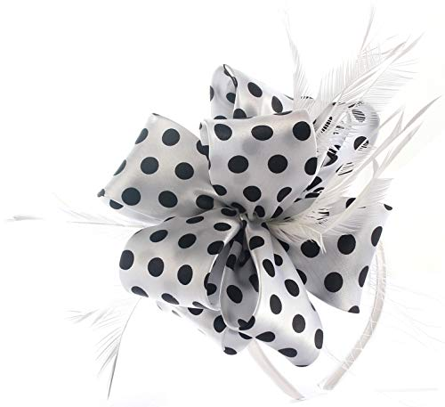 - Fascinator Hats for Women Tea Party Wedding Headband Feather Cocktail Headwear Hair Clip for Girls (White-Black dot)