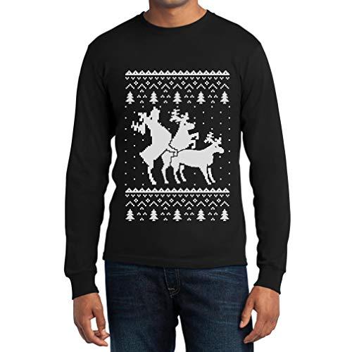 Nero Che Ugly Lunga Si Montano Renne Sweater Uomo Christmas Maglia Shirtgeil Manica aqwPxpC4O