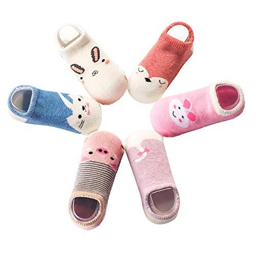 Baby Socks for Girls Boys - Toddler Animal No Show Non Slip/Anti Skid Slippers 6 Pairs 0-24 months (4-5 Years, 6 Pairs Animal socks 2) -