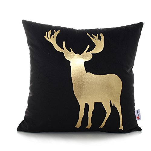 Monkeysell Original New products Bronzing flannelette Home Pillowcases Throw Pillow Cover Deer antlers Elk Christmas pattern design Rock punk neoclassical style 18 inches Black golden (New Elk)