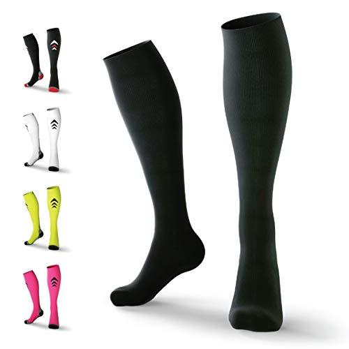 Rymora Compression Socks for Men & Women (Lightweight) (One Pair) (Black) (Small)