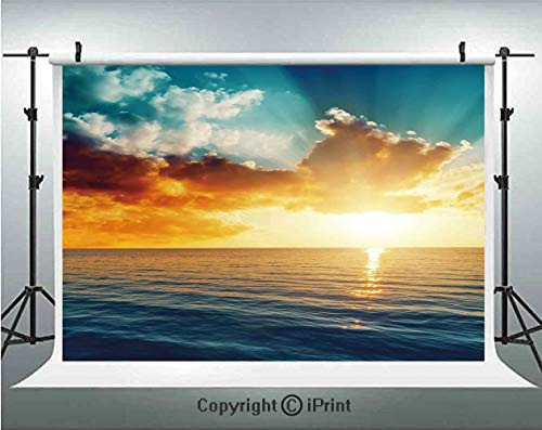 Ocean Photography Backdrops Majestic Sunset Over The Sea Scenic Idyllic Aquatic View Morning Picture,Birthday Party Background Customized Microfiber Photo Studio Props,5x3ft,Turquoise Orange - Necklace Set Majestic