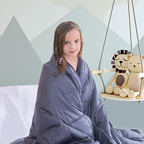 COLERLINE Weighted Blanket for Kids - 36''x 48'', 5lbs, 100% Breathable Soft Cotton Heavy Blanket with Glass Beads - Dark Grey