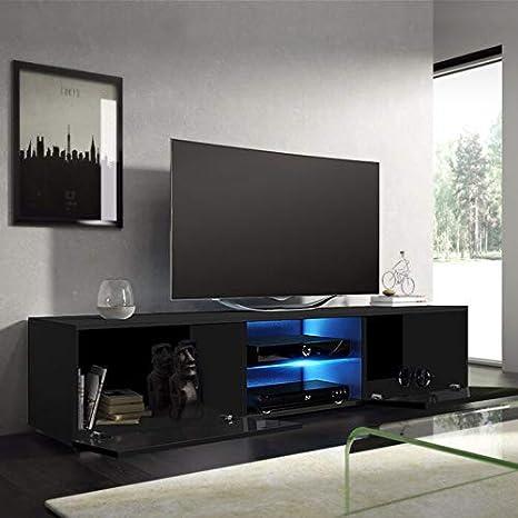 grande armadietto bianco opaco frontale lucido con luci LED in legno per animazione nero bianco Mobile TV per salotto moderno a LED 120 x 40 x 30 cm Black grigio. stand TV nero