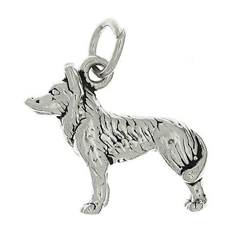 Oxidized Sterling Silver Three Dimensional Husky Sled Dog Charm