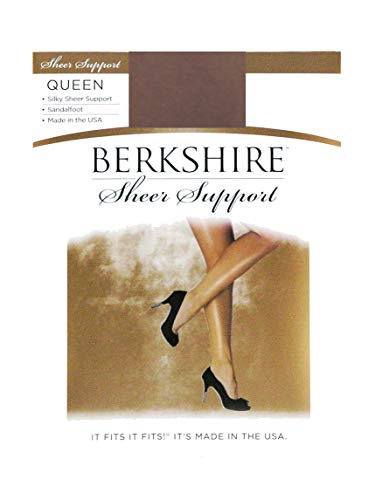 Berkshire Women's Plus-Size Queen Silky Sheer Support Pantyhose - Control Top Sandalfoot 4417, Pale Taupe, Queen Petite