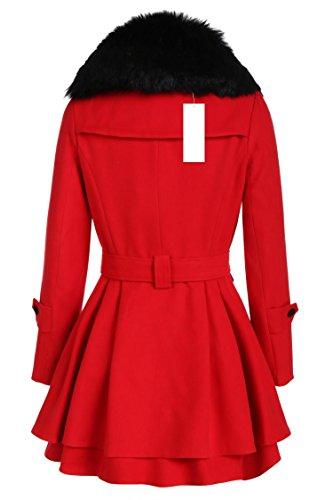 Coat Manteau Parka Cooshional Chic Pull Hiver Long Bas Rouge Moulante Femme Laine Jupe Cintrée Mélangée Fourrure Trench OppqxSzd
