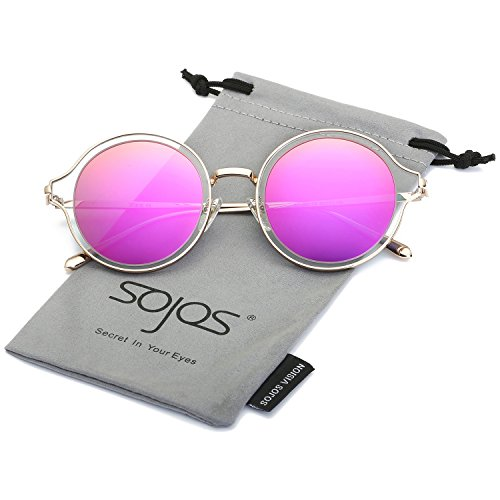 SojoS Round Polarized Sunglasses Metal Frame Flat Lens Unisex Glasses SJ1058 With Gold Frame/Rose Mirrored - K Sunglasses D