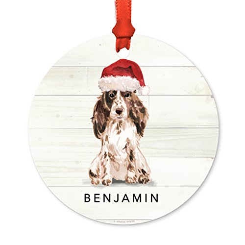 Andaz Press Personalized Animal Pet Dog Metal Christmas Ornament, Brown Cocker Spaniel with Santa Hat, 1-Pack, Includes Ribbon and Gift Bag, Custom Name