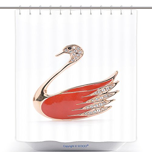 Polyester Shower Curtains Brooch In The Shape Of A Swan On A White Background 264742223 Polyester Bathroom Shower Curtain Set With Hooks
