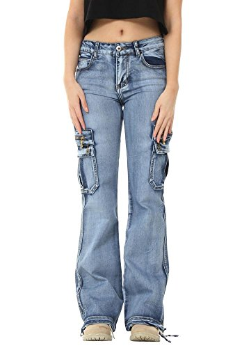 Glamour Wash Light Denim Jeans Pants Outfitters Cargo Blue Wide Combat Leg Blue rAnCx6H1rq