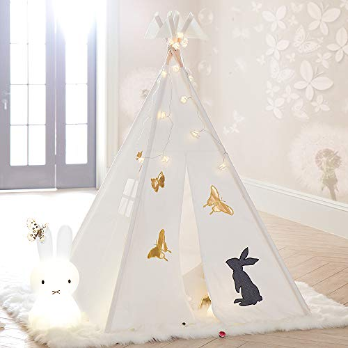 Tree Bud Teepee Tent for Kids, Classic Indian Style Play Tent with Window & Embroidery Pattern for Girls and Boys, Children's Playhouse for Indoor & Outdoor with Carry - Tent Play Butterfly