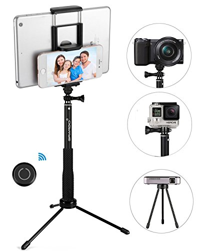 Selfie Stick Tripod, GRANDO 2 in 1 Clip Extendable Monopod with Bluetooth Remote and Tripod Stand for Tablet, Apple, Android & Cameras Black (Black) by Dstecho