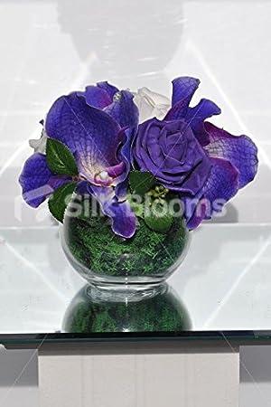 Pretty artificial Fresh Touch Morado Vanda Orquídea Jarrón Pecera pantalla con rosas: Amazon.es: Hogar