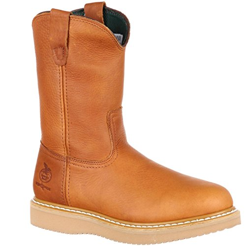 (Georgia Men's Wedge Wellington Work Boot-M Steel Toe, Barracuda Gold, 10 M US)