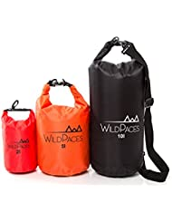 Super Value Set of 3 Waterproof Dry Bags by WildPaces 10L 5L 2L for Swimming Running Cycling Biking Camping Hiking...