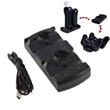 FYL USB Dual Charger Charging Dock Station for Sony PS3 Move Wireless Controller