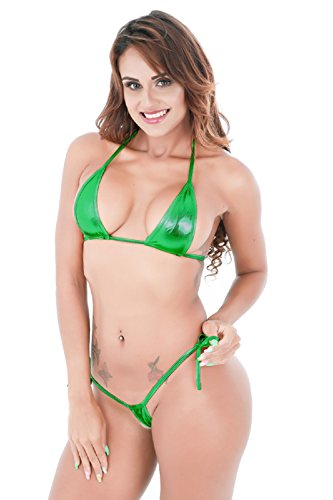 Side Micro Thong - EVAbaby Women's Halterneck Micro Thong Bikini 2 Piece Swimsuit Mini Tie Side PU Leather Sexy Extreme Swimwear Clubwear
