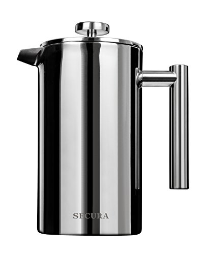 Secura Stainless Steel French Press Coffee Maker 18/10 Bonus Stainless Steel Screen (1000ML) by Secura