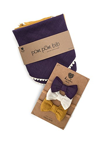 kishu baby Girl Pom Pom Bibs and Bows Gift Set for Girls, Purple Ivory Mustard, multicolor, One Size by Kishu Baby