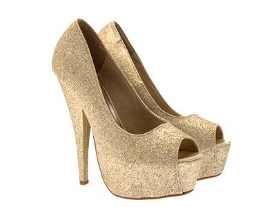 Lora Dora Womens Glitter High Heels Faux Suede Platforms Peep Toe Court Shoes Pumps SizeUK 3-8 Gold Glitter SUU1Ng