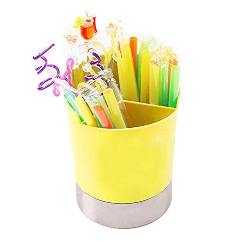 MyLifeUNIT Straw Dispenser Holder, 3 Compartments Plastic Straw Dispenser, Straw Container with Stainless Steel Base (Yellow) by MyLifeUNIT