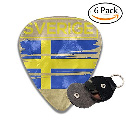 Swedish Flag Celluloid Guitar Picks Plectrums Guitar Bass Accessories, 6 Pack.96mm ()