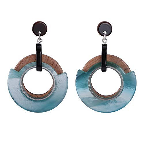 FAMARINE Statement Collar Necklace, Aqua Bohemia Chunky Resin Metal Chain Necklace for Women Jewelry (Earrings- Acrylic Wood)